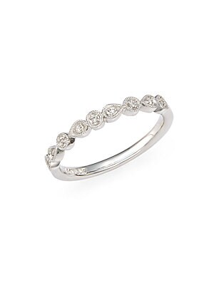 Click here for Diamond & 14K White Gold Teardrop Band Ring prices