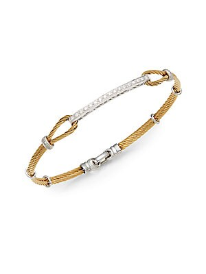 Click here for Diamond  18K Yellow Gold & Steel Bracelet prices