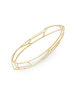 18K Yellow Gold Open Frame Bangle Bracelet