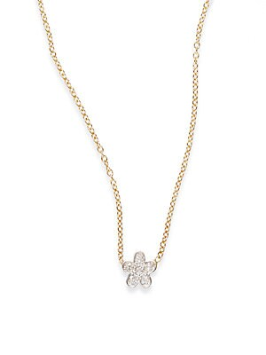 Click here for Diamond & 14K Gold Flower Necklace prices