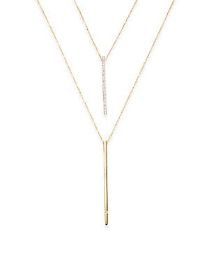 Click here for Diamond & 14K Gold Double Chain Necklace prices