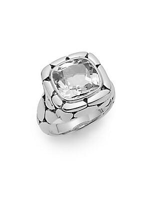 Batu Kali White Topaz & Sterling Silver Ring