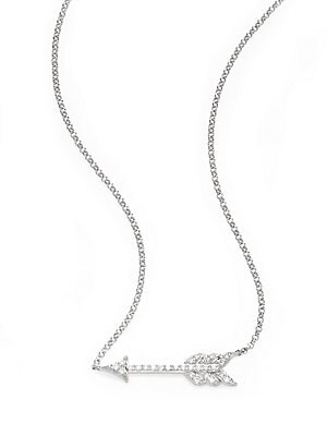Click here for Diamond & 14K White Gold Arrow Pendant Necklace prices