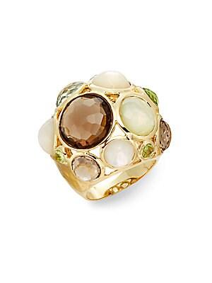 Mother-Of-Pearl, Amethyst, Quartz & 18K Yellow Gold Ring