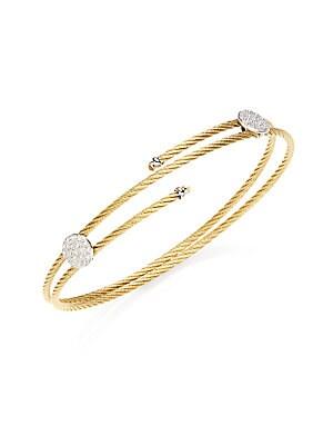 Pavé Disc Cable Wrap Bracelet   Gold