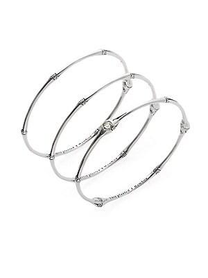 Bamboo White Topaz & Sterling Silver Bangle Bracelet Set