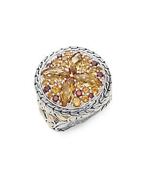 Batu Kawung Citrine, Garnet, Spessartine, 18K Yellow Gold & Sterling Silver Ring