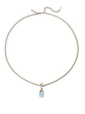 Batu Blue Topaz, Aquamarine, Iolite, Sterling Silver & 18K Yellow Gold Necklace