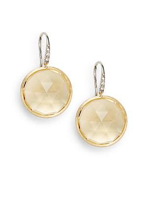 Diamond, Citrine & 18K Yellow Gold Earrings