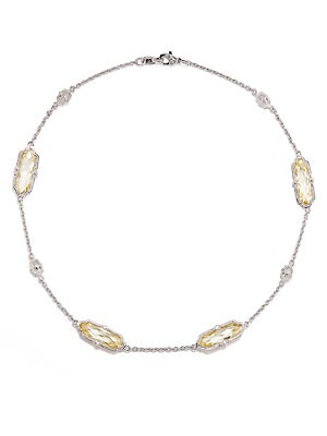 White Sapphire, Yellow Stone & Sterling Silver Link Necklace   Yell