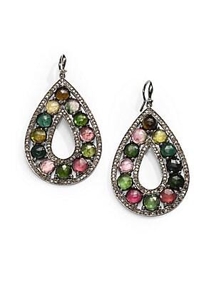 Diamond, Tourmaline & Sterling Silver Earrings   Diamond Tourmaline