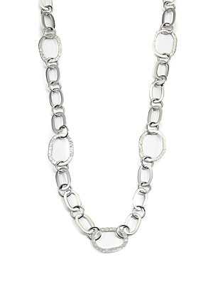 Sterling Silver Mixed Link Necklace   Silver