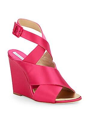 Wynne Ankle-Strap Satin Wedge Sandal