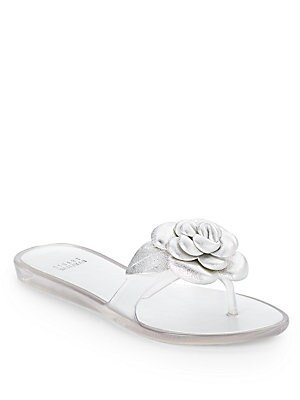 Bloomed Metallic Leather & Jelly Flat Sandals