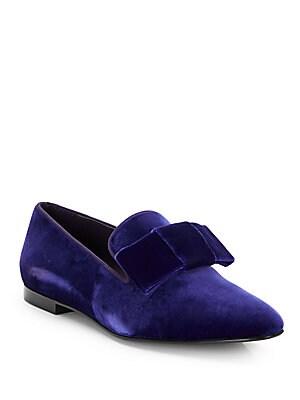 Stella McCartney Velour Velvet Bow Smoking Slippers