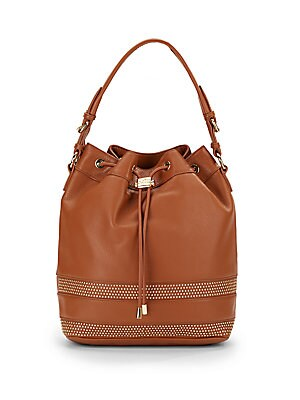 Penny Leather Studded Convertible Bucket Bag