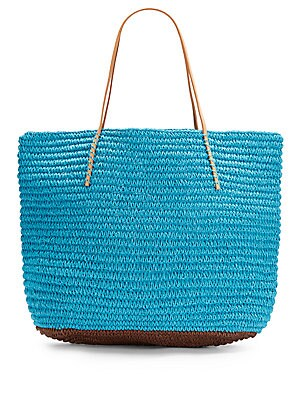 Bicolor Straw Tote Bag