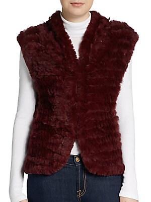 Shawl-Collar Rabbit Fur Vest