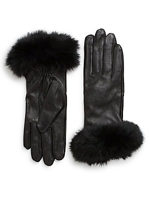 Fur-Trimmed Leather Gloves