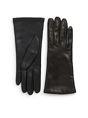 Two-Tone Leather Cashmere-Lined Gloves