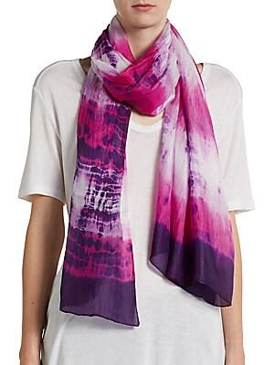 Tie-Dyed Silk Stripe Scarf