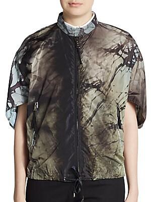 Printed Short-Sleeve Zip Jacket