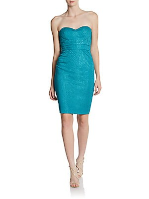 Zac Posen Printed Strapless Sweetheart Dress