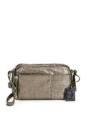 Unzipped Metallic Suede Crossbody Bag