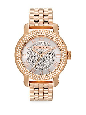 Rose Goldtone Stainless Steel Sparkle Bracelet Watch