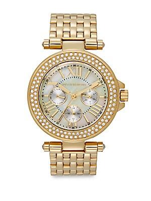 Goldtone Stainless Steel Sparkle Bracelet Watch