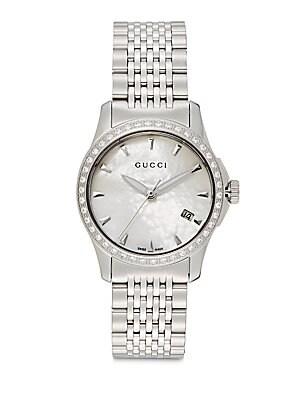 gucci female gtimeless stainless steel bracelet diamond watch