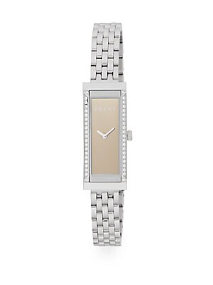 gucci female gframe diamond stainless steel watch