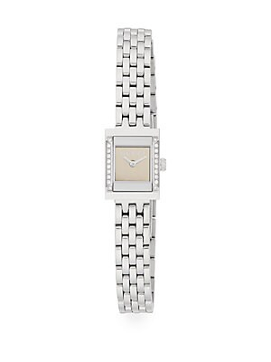 gucci female diamond stainless steel link bracelet watch