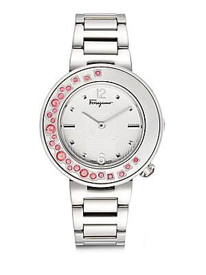 Topaz-Bezel Stainless Steel Bracelet Watch