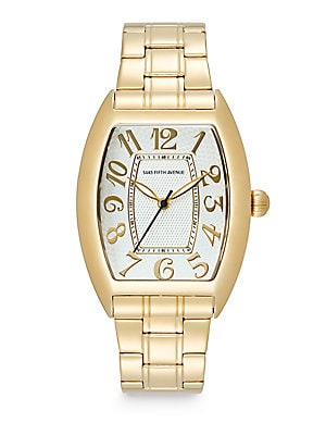 Stainless Steel Oval Dial Watch/Gold White