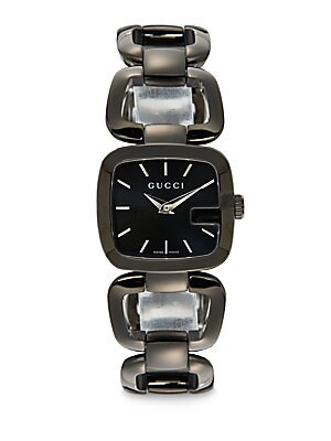 gucci female 188971 blackened stainless steel square link watch