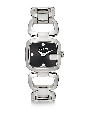 gucci female strainless steel white sapphire square dial watch