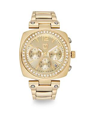 Goldtone IP Stainless Steel & Crystal Bezel Bracelet Watch