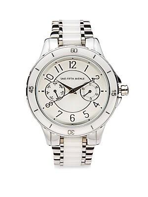 Silvertone & Ceramic Bracelet Watch