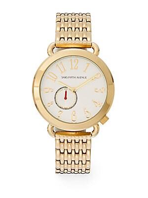 Goldtone IP Round Bracelet Watch
