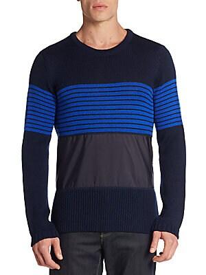 Striped Paneled-Knit Sweater