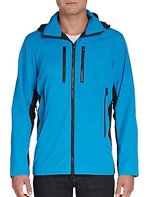 michael kors male hooded colorblock zip jacket