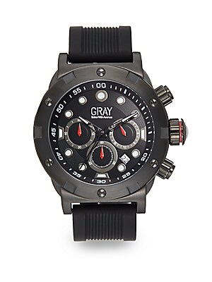 Black IP Stainless Steel & Silicone Strap Chronograph Watch