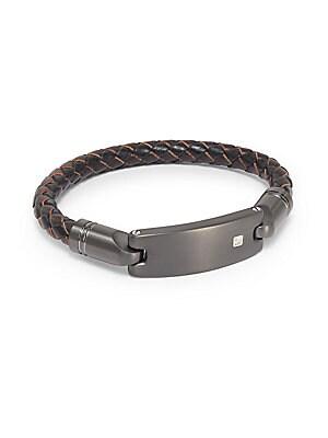 14K Gold/Diamond & Leather Bracelet