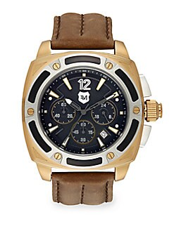 Two-Tone Stainless Steel & Stitched Leather Chronograph Watch