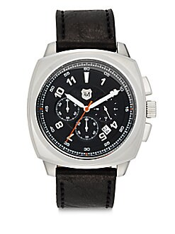 Chronograph Square Stainless Steel & Leather Watch