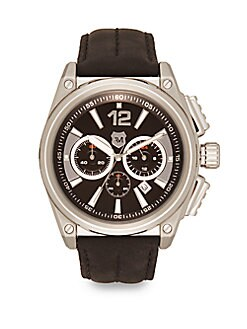 Stainless Steel & Suede Strap Chronograph Watch