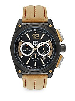 Black IP Stainless Steel & Stitched Leather Chronograph Watch