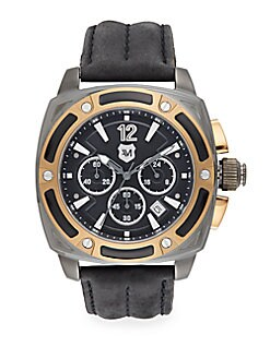 Two-Tone Stainless Steel Screw Bezel & Leather Chronograph Watch