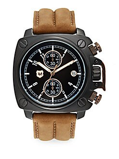 Black IP Stainless Steel Square & Leather Chronograph Watch